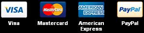 Payment Methods: Visa MasterCard American Express PayPal